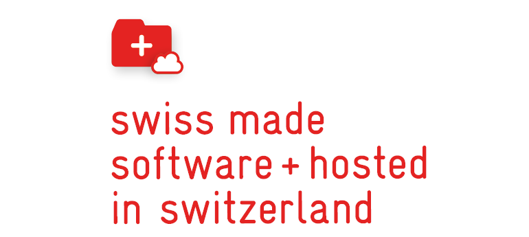 "Bild von Cloud Server Software mit ""swiss made software"" Label"